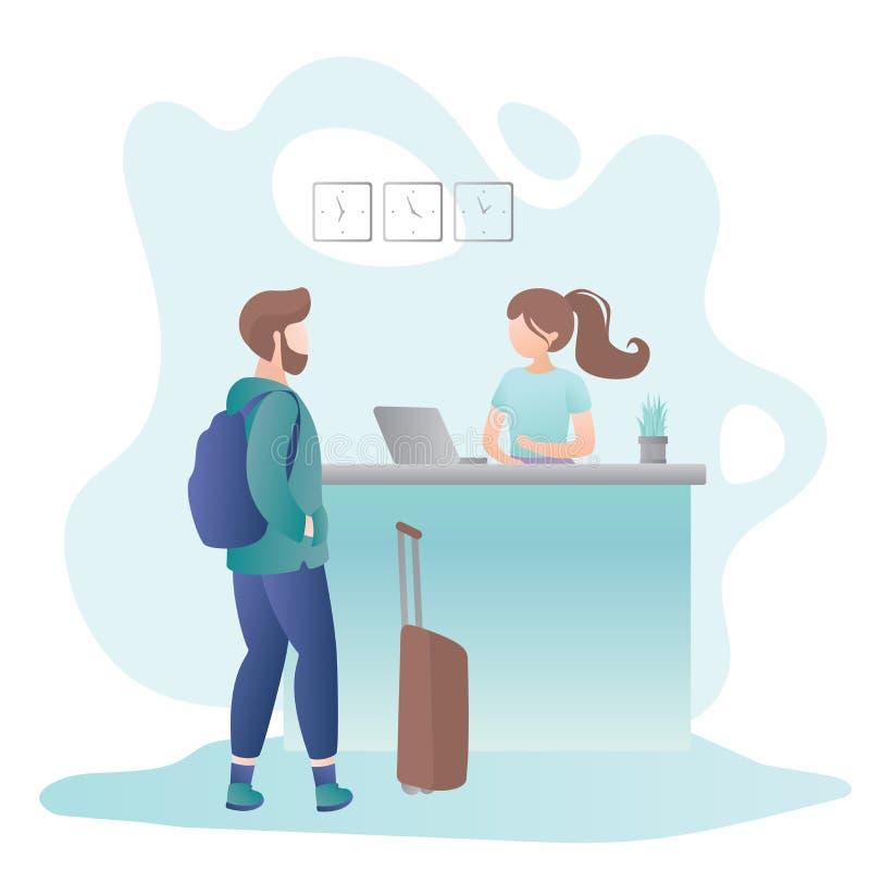 Vrouwelijke receptionnist op de receptiebalie in hotel en mannelijke toerist met koffer en rugzak vector illustratie