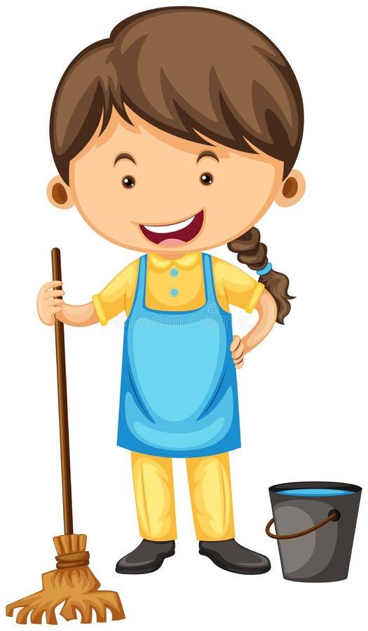 Vrouwelijke reinigingsmachine met bezem en emmer royalty-vrije illustratie