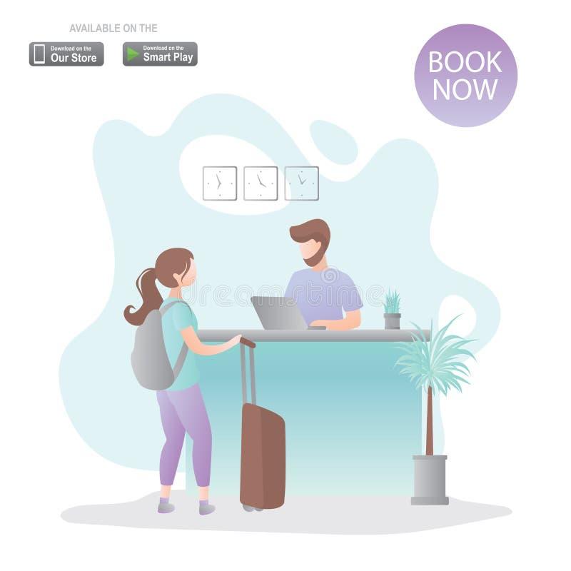 Vrouwelijke reiziger met rugzak en koffer en mannelijke receptionnist op het werk, receptiebinnenkant stock illustratie