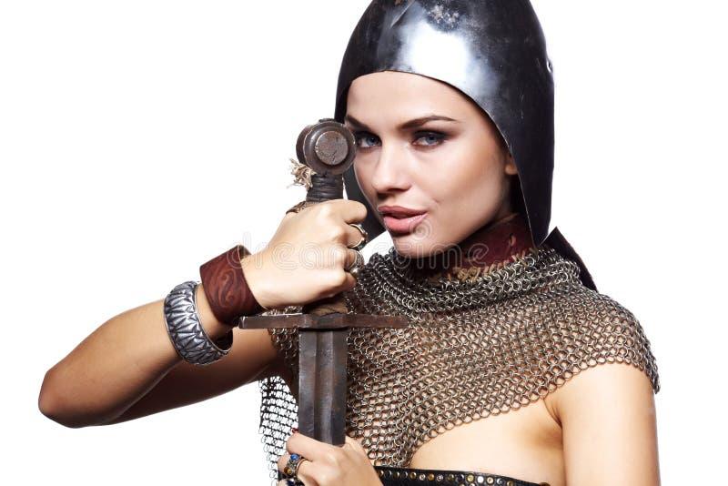 vrouwelijke ridder in pantser royalty-vrije stock afbeelding