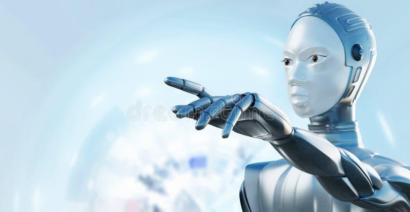 Vrouwelijke robot die met vinger richten stock afbeeldingen
