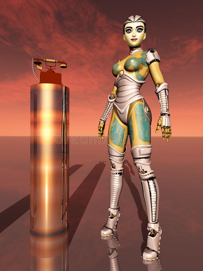 Vrouwelijke robot en telefoon royalty-vrije illustratie
