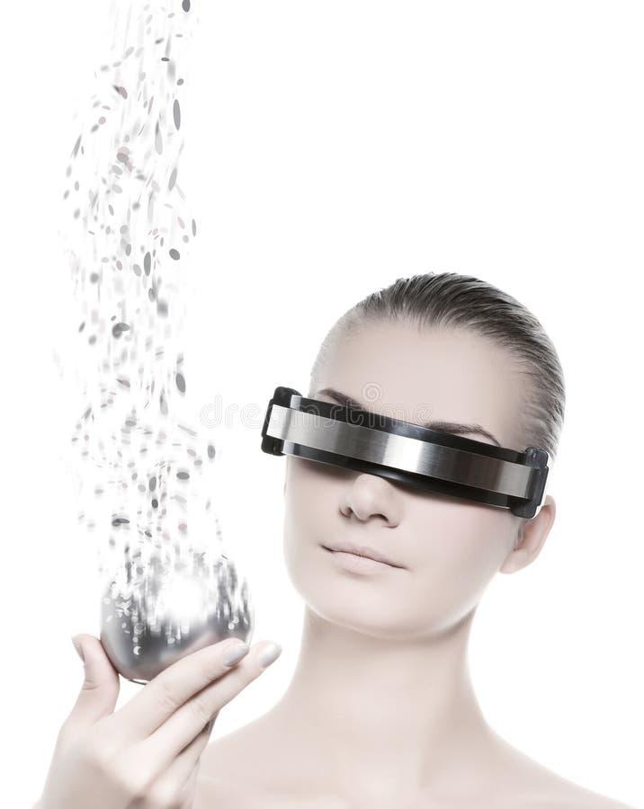 Vrouwelijke robot. Het concept van de nanotechnologie vector illustratie