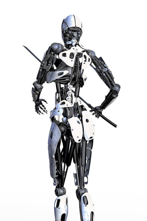 Vrouwelijke Robot met Geïsoleerd Zwaard Achterweergeven stock illustratie