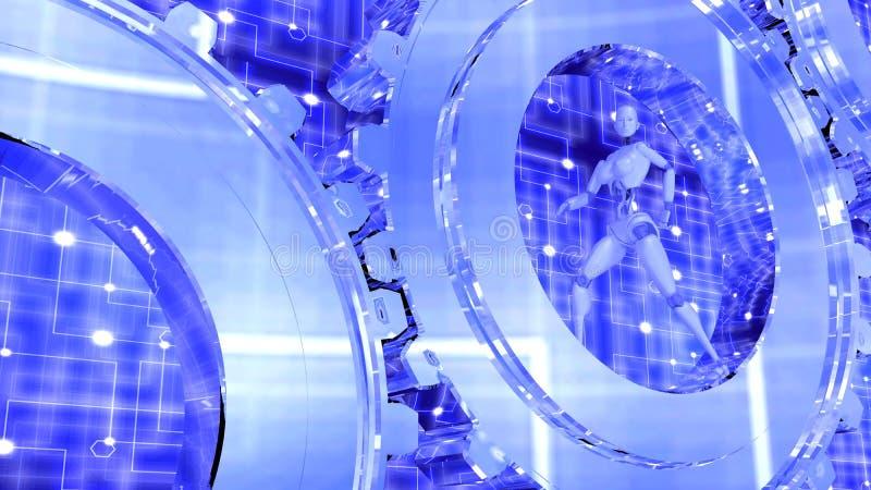 Vrouwelijke robotgangen binnen glanzende toestellen vector illustratie
