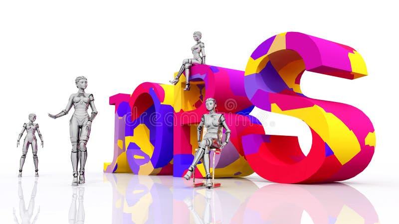 Vrouwelijke robots en de woordbanen royalty-vrije illustratie