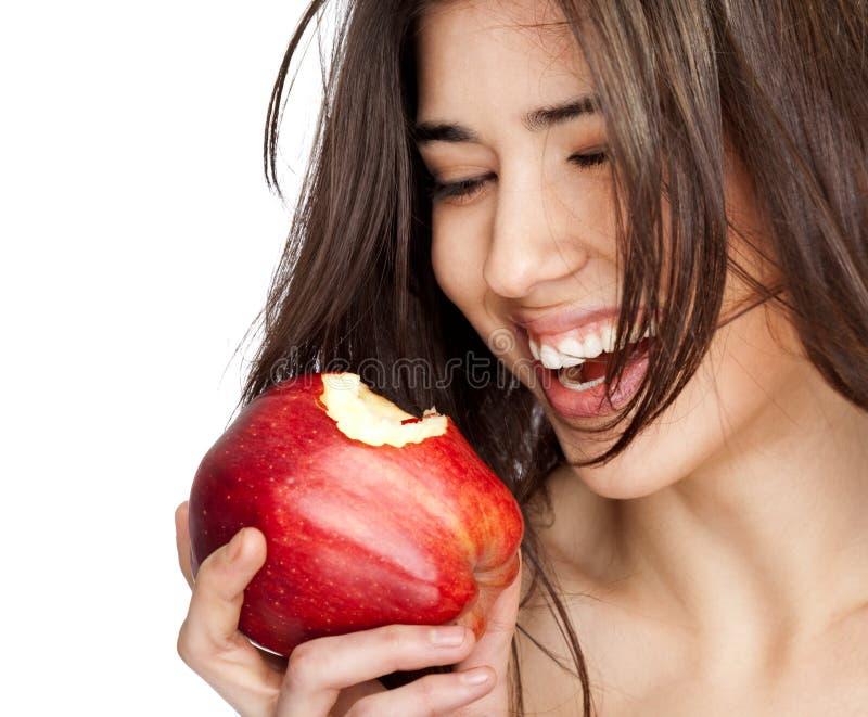 Vrouwelijke rode gebeten appel stock afbeelding