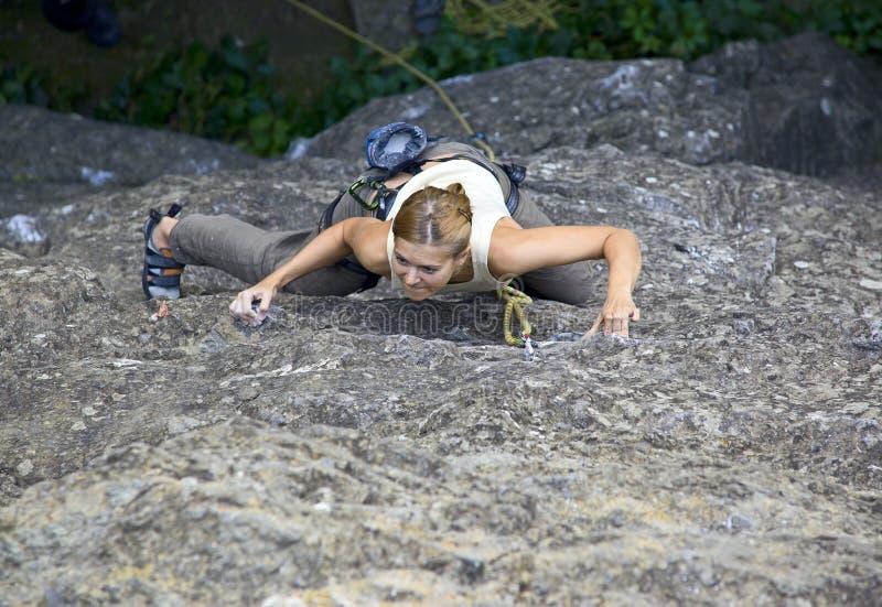 Vrouwelijke rotsklimmer die zich aan een klip vastklampt stock afbeelding