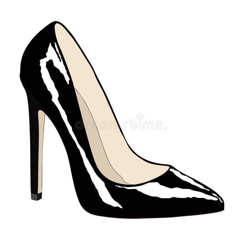 Vrouwelijke schoen van zwarte kleur vector illustratie