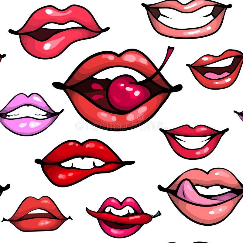 Vrouwelijke sexy de manierdruk van het lippen naadloze patroon Mond met kersenpeper het bijten, glimlach, tong, tanden op wit vector illustratie