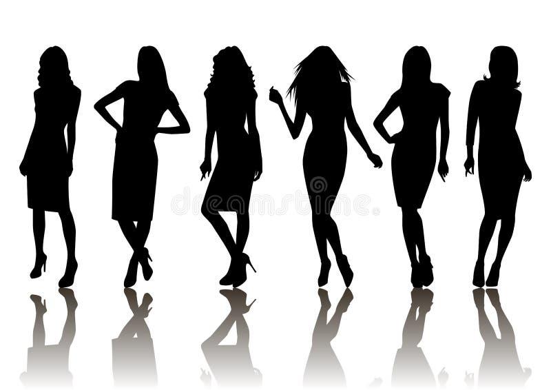 Vrouwelijke silhouetreeks royalty-vrije illustratie