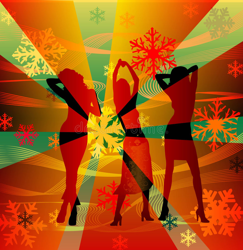 Vrouwelijke Silhouetten Die In Een Disco Dansen Stock Afbeeldingen