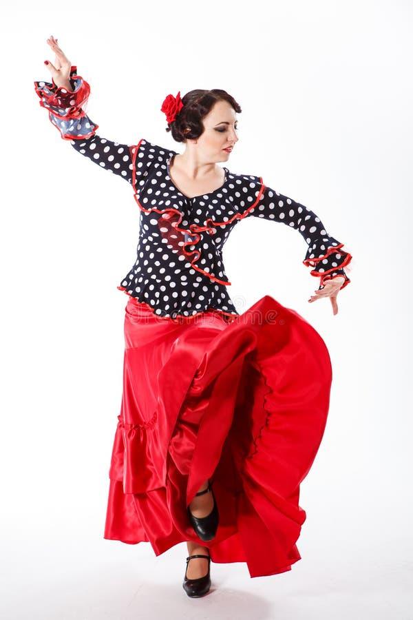 Vrouwelijke Spaanse flamencodanser stock foto's