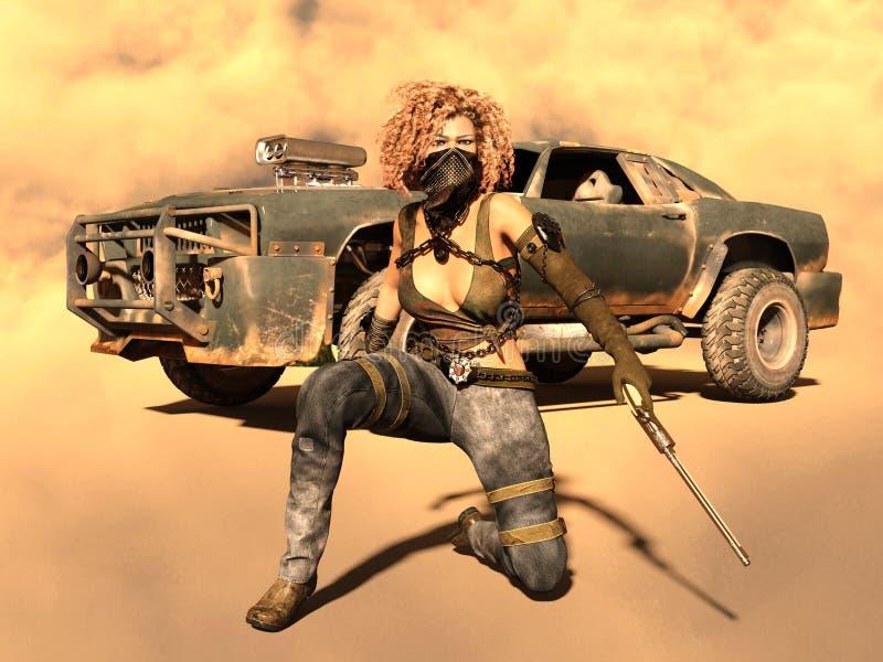 Vrouwelijke strijder vector illustratie
