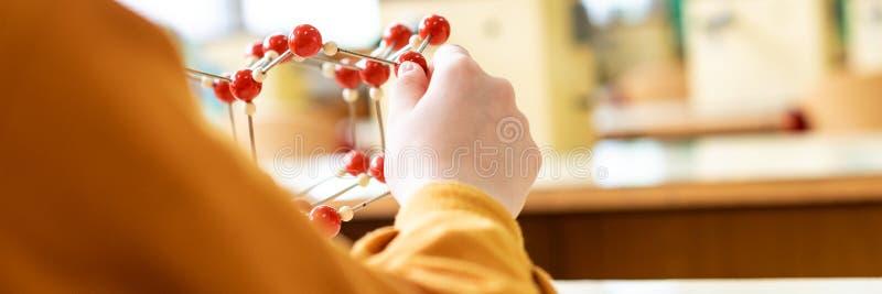 Vrouwelijke student die moleculair structuurmodel houden De banner van het het conceptenweb van de wetenschapsklasse royalty-vrije stock fotografie