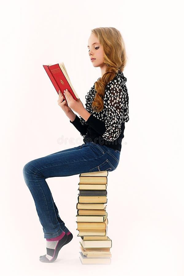 Vrouwelijke student met boeken stock afbeeldingen
