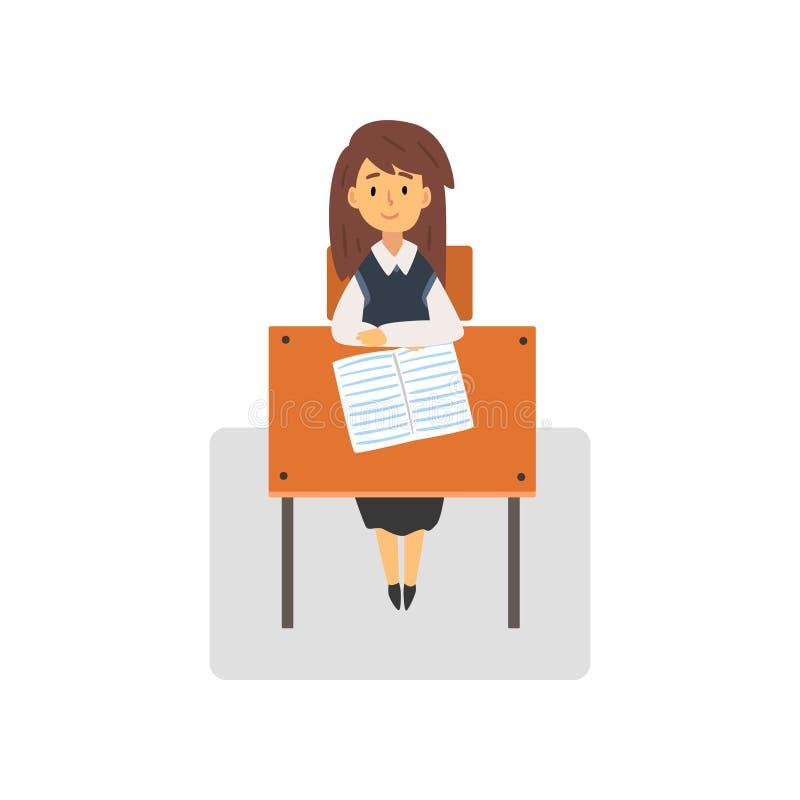 Vrouwelijke Student Sitting dat bij Bureau in Klaslokaal, Schoolmeisje op School, Universiteits Vectorillustratie bestudeert stock illustratie