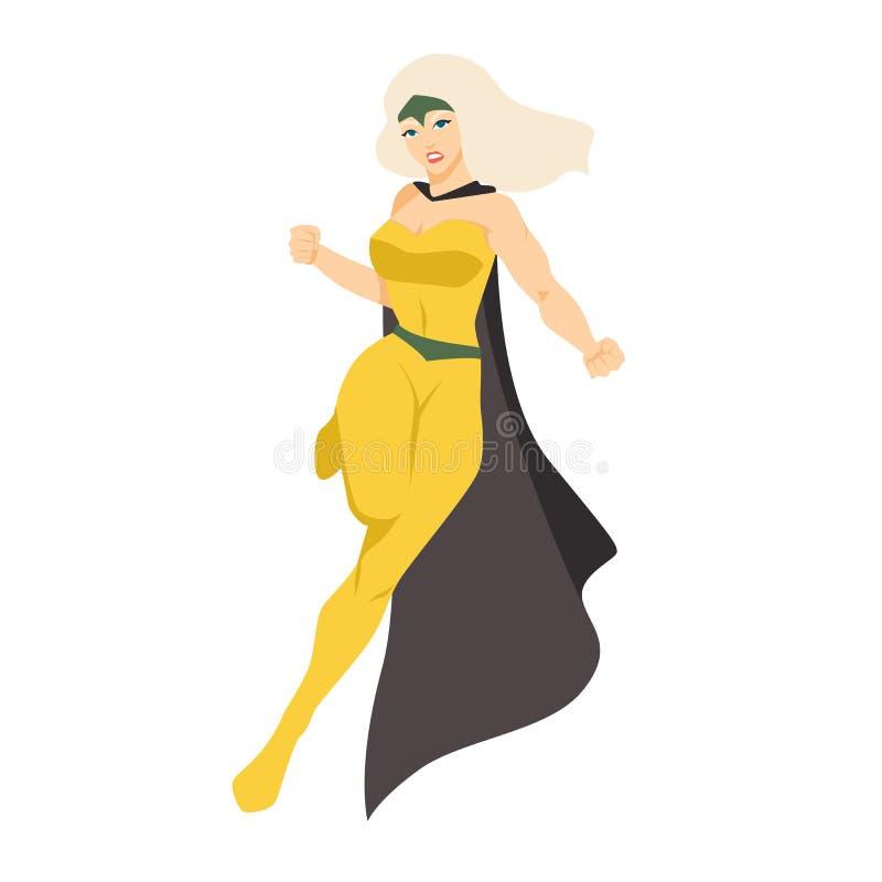 Vrouwelijke superhero of superheroine Blondevrouw met super bevoegdheden Moedig en krachtig grappig karakter die vast dragen vector illustratie