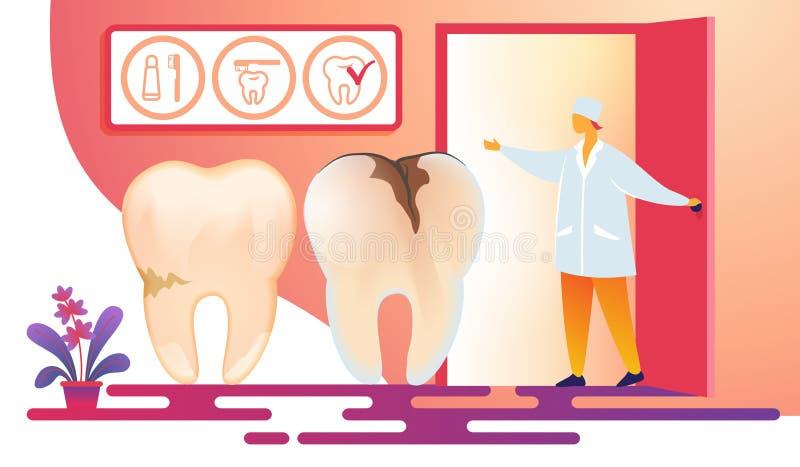 Vrouwelijke Tandheelkunde Arts Inviting Patient in Zaal vector illustratie