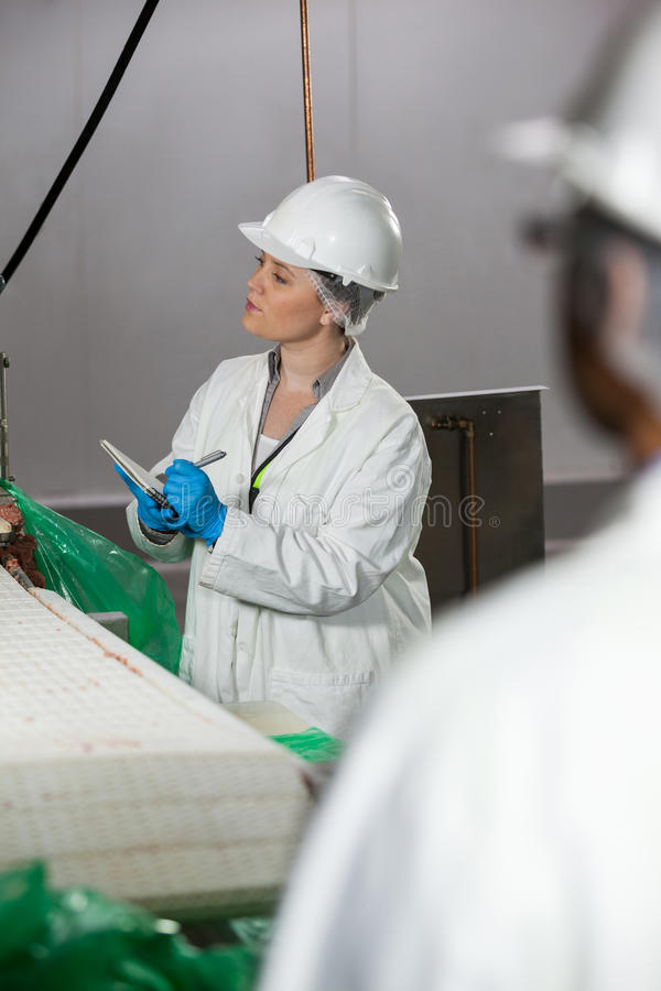 Vrouwelijke technicus die op blocnote schrijven terwijl het onderzoeken van de machine van de vleesverwerking royalty-vrije stock foto's