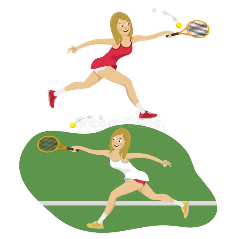 Vrouwelijke Tennisspeler die de Tennisbal op Hof bereiken te raken royalty-vrije illustratie