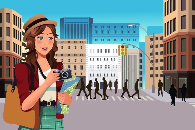 Vrouwelijke toerist in de zomer stock illustratie