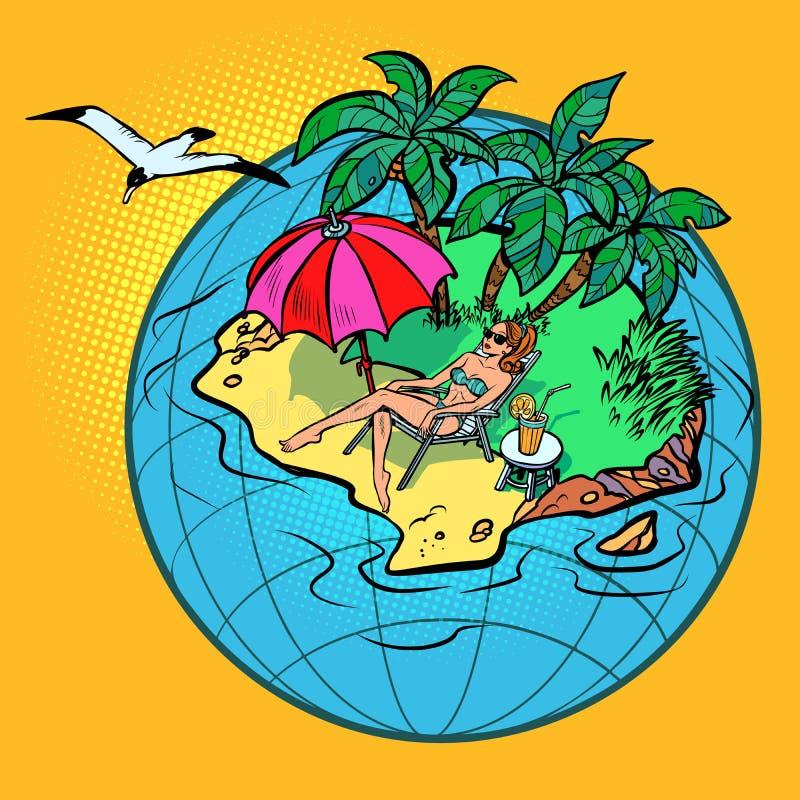 Vrouwelijke toerist die in een tropische toevlucht rusten royalty-vrije illustratie