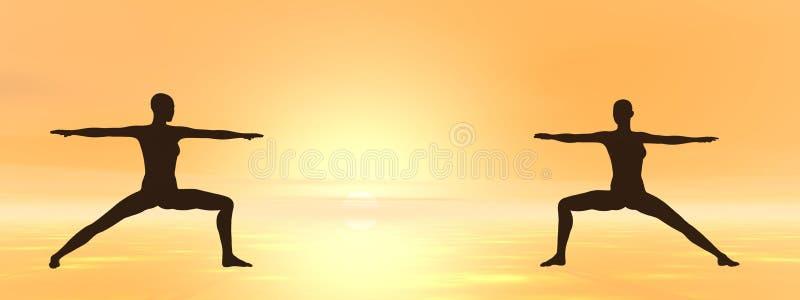 Yoga bij 3D zonsondergang - geef terug vector illustratie