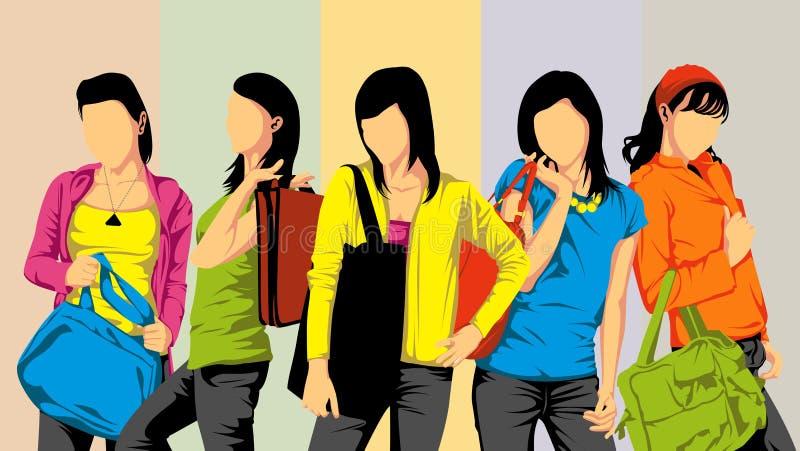 Vrouwelijke universitaire student vector illustratie