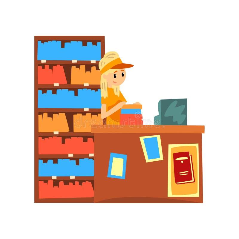 Vrouwelijke verkoper die zich achter de teller van de vectorillustratie van het boekhandelbeeldverhaal op een witte achtergrond b vector illustratie