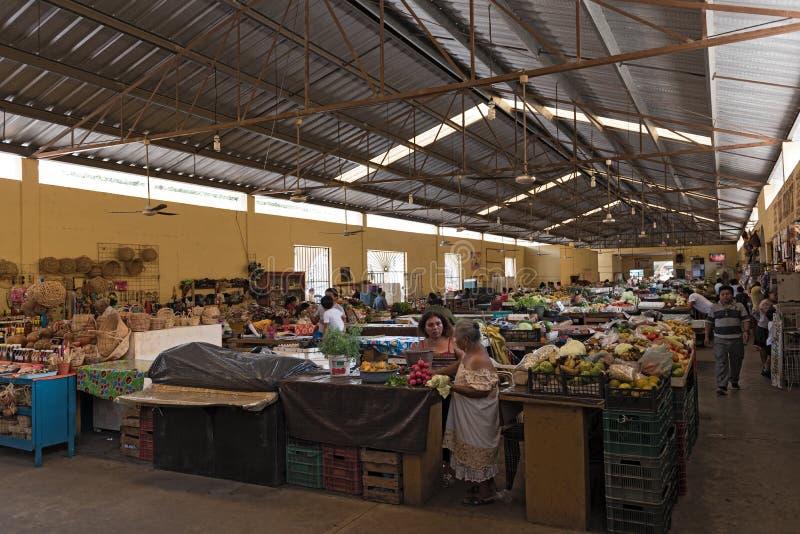 Vrouwelijke verkopers met klanten bij de belangrijkste markt, mercado gemeentelijk in Valladolid, Mexico royalty-vrije stock foto's
