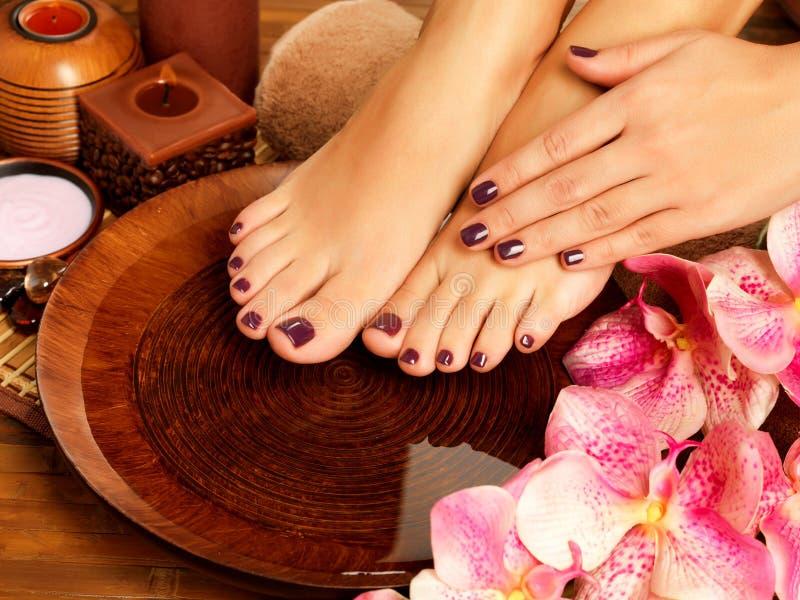 Vrouwelijke voeten bij kuuroordsalon op pedicureprocedure royalty-vrije stock fotografie