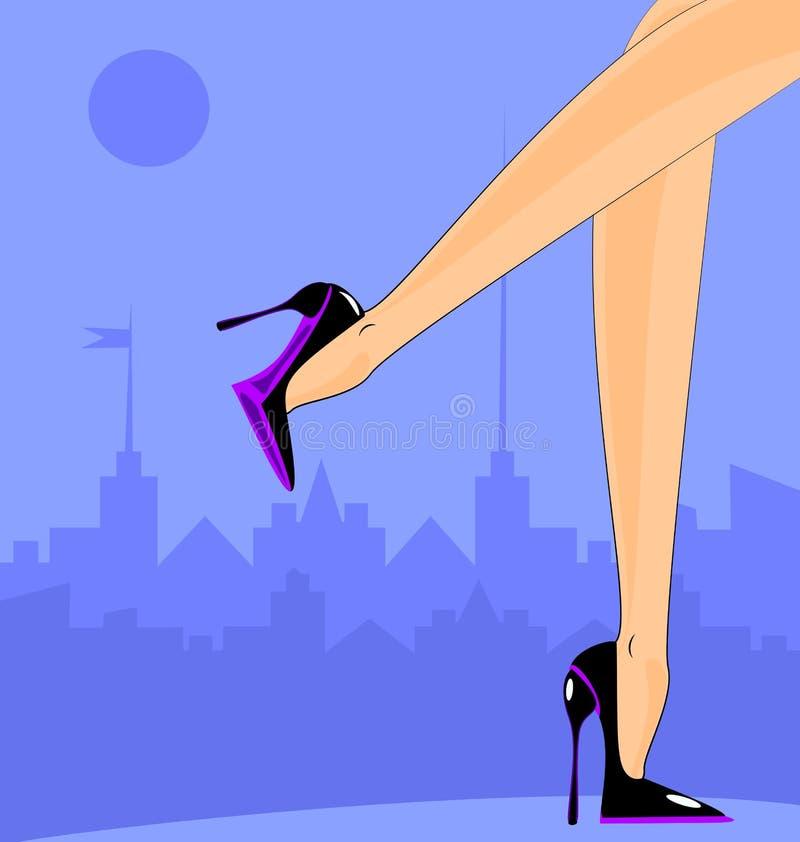 Vrouwelijke voeten in de stad royalty-vrije illustratie