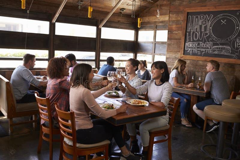 Vrouwelijke vrienden die een toost maken tijdens lunch bij een restaurant royalty-vrije stock afbeeldingen