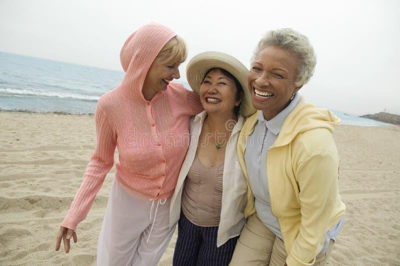 Vrouwelijke Vrienden die van Vakantie genieten bij Strand stock foto's