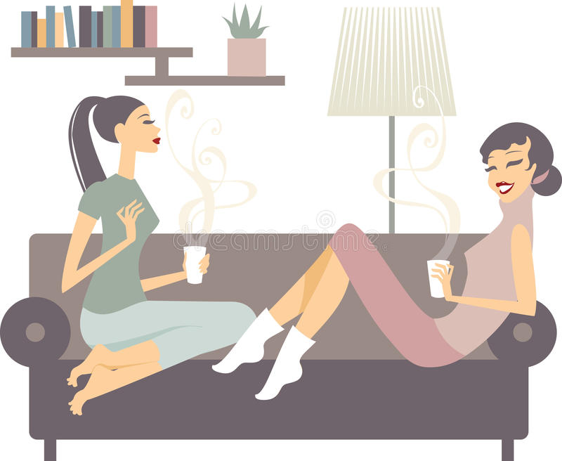 Vrouwelijke vrienden met koffiekoppen die thuis spreken vector illustratie