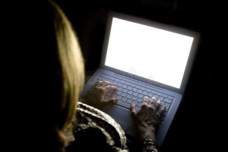 Vrouwelijke vrouw op Laptop 01 stock foto's