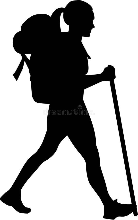 Vrouwelijke wandelaar vector illustratie