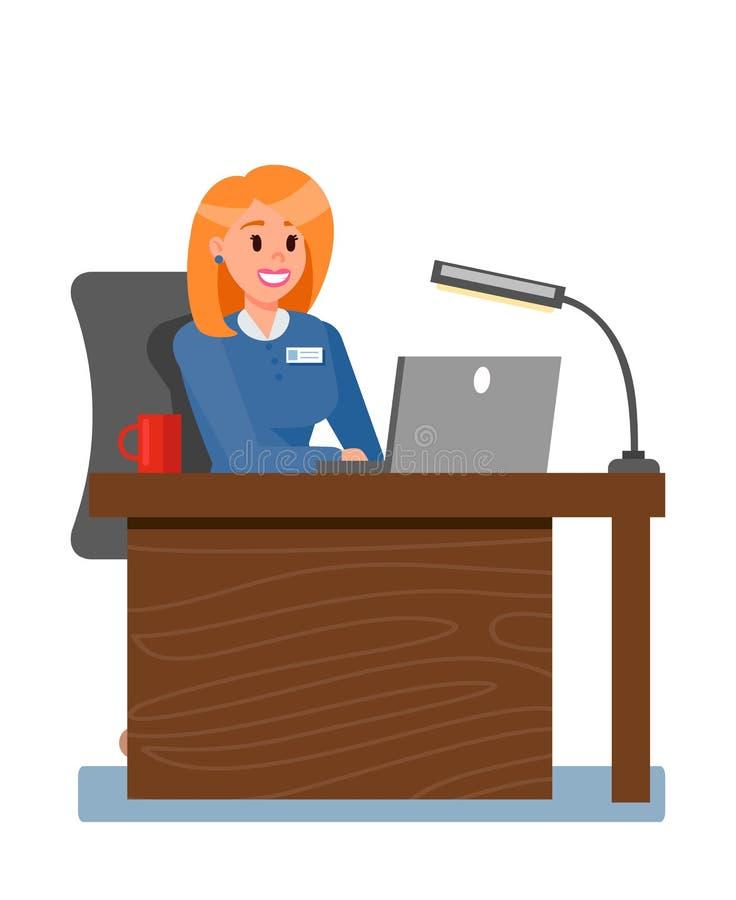 Vrouwelijke Werkgever in Privé-kantoor Vectorillustratie royalty-vrije illustratie