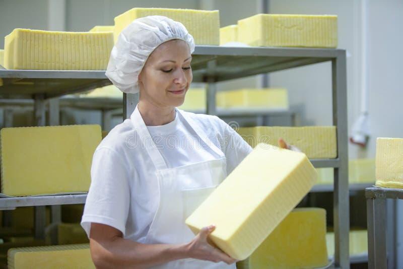 Vrouwelijke werknemer op gele kaasproductielijn in industrieel stock afbeelding