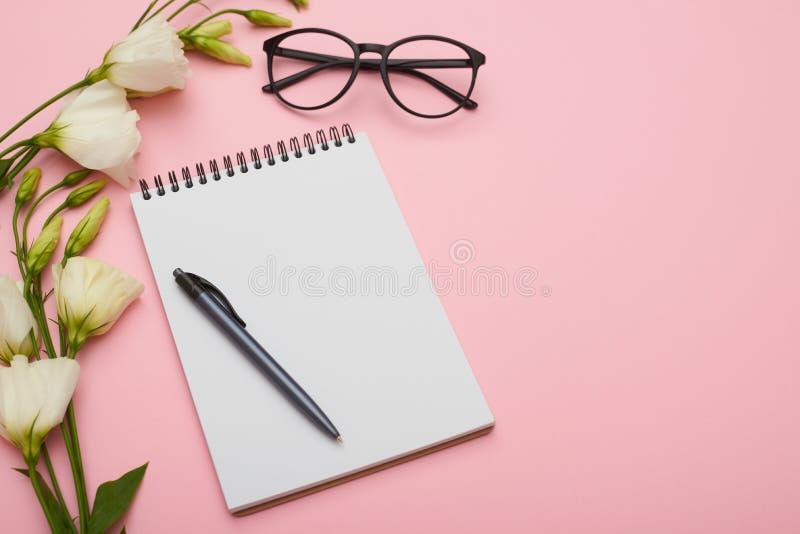 Vrouwelijke werkplaats met jotter, oogglazen en bloemen in pastelkleur royalty-vrije stock fotografie