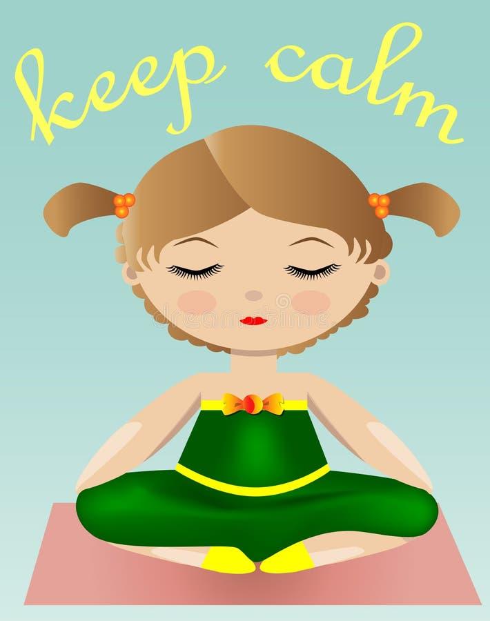 Vrouwelijke Yoga Een meisje in een groen kostuum zit in een lotusbloem stelt illustratie van een vrouw het praktizeren yoga stock illustratie
