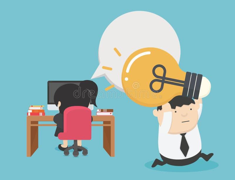 Vrouwelijke zakenlieden die elektronische ideeën door de diefstal van mannelijke zakenlieden hebben gestolen vector illustratie