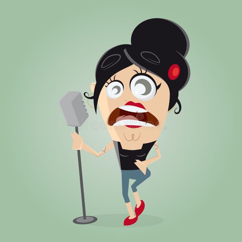 Vrouwelijke zanger op microfoon vector illustratie