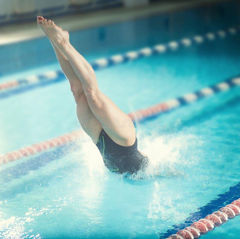 Vrouwelijke zwemmer, die springend in binnen zwembad. stock afbeeldingen