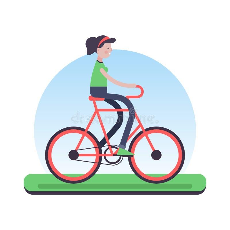 Vrouwen berijdende fiets openlucht voor milieuhulp stock illustratie