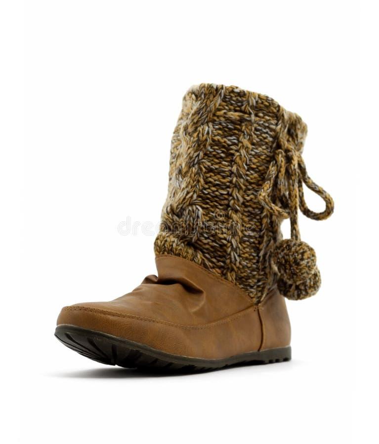 Vrouwen bruine laarzen stock foto