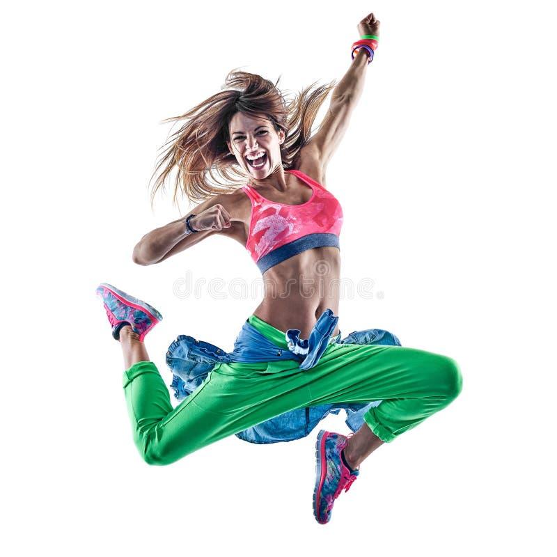 Vrouwen cardiodansers het dansen geschiktheid die excercises isolat uitoefenen royalty-vrije stock afbeeldingen
