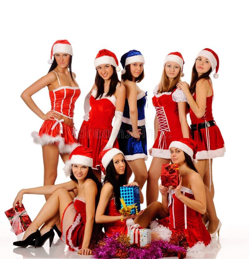 Vrouwen in de kostuums van Kerstmis royalty-vrije stock foto's