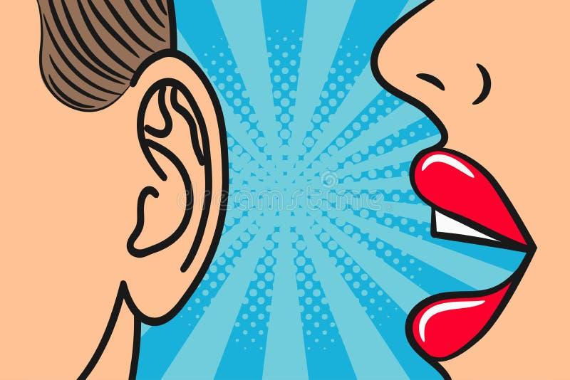 Vrouwen de lippen die binnen bemant oor met toespraakbel fluisteren Pop-artstijl, grappige boekillustratie Geheimen en roddelconc royalty-vrije illustratie